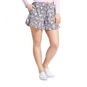 NWT Mossimo Floral Flowy Ruffle Shorts Medium Blue